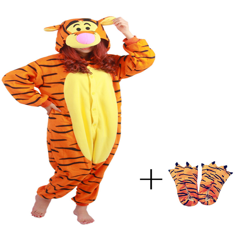 New Style Polar Fleece Cartoon Tigger Loose Jumpsuit Pajamas Lovers Animal Autumn Winter Gentle Orange Paw Shoes As Free Gifts