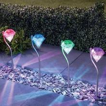 купить 4pcs LED Solar Light Outdoor Garden Decoration Lamps LED Diamonds Lawn Light Solar Powered Path Lanterns Lamp Home Decoration по цене 234.29 рублей