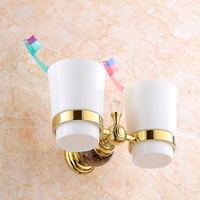 Free Shipping European Style Gold Plated Luxury Marble Double Cup Holder Toothbrush Holder Tumbler Holder Bathroom