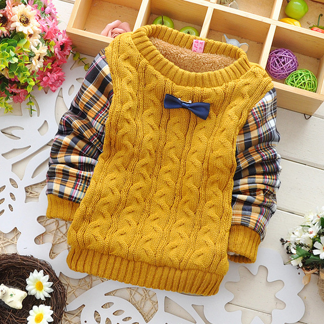 2016  Autumn winter Casual boys Knitting patchwork Tie decoration Plus velvet  Keep warm Pullovers sweater Y2020