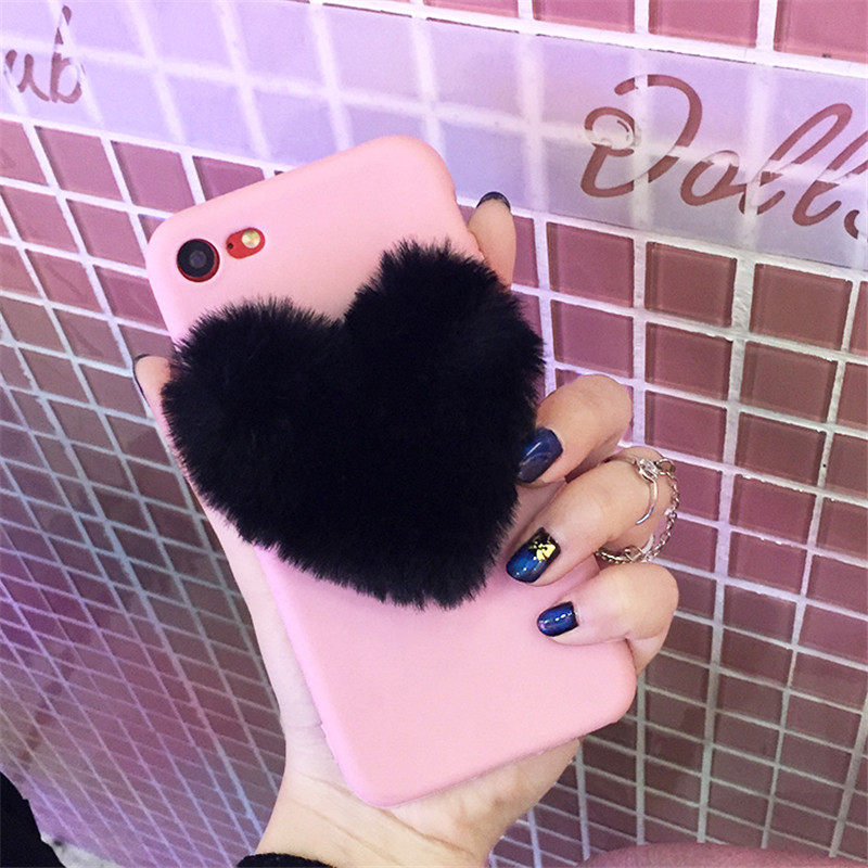 e2ce3157f5 TIKITAKA Cute 3D Love Heart Warm Plush Phone Case For iphone XR Lovely  Couples Case For iphone 5 6 6s 7 8 Plus XS Max Back Cover-in Fitted Cases  from ...