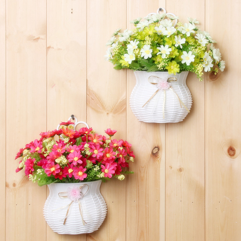 Plastic vase with silk flowers hanging basket container for flower plastic vase with silk flowers hanging basket container for flower plant home party wedding decoration diy flower set in artificial dried flowers from junglespirit Images