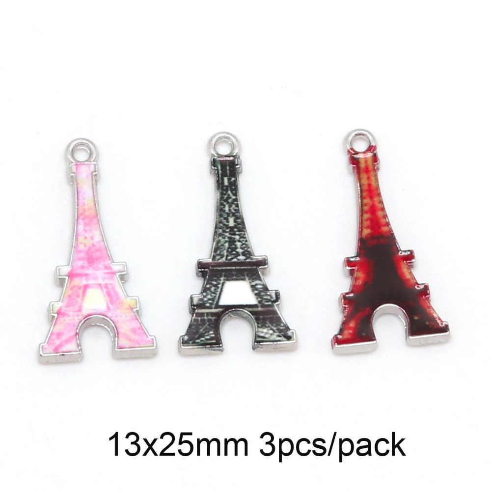 Nova Moda Folhas, Eiffel Cidade, Coração, mão de Liga de Zinco Esmalte Beads DIY Colar Pulseira Pingente Encantos Para Fazer Jóias de Presente