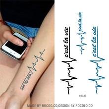 HC1089 Waterproof Temporary Tattoo Sticker Women Sexy Arm Chest Fake Tattoo Ecg English Alphabet Pattern Designs Body Art Tattoo
