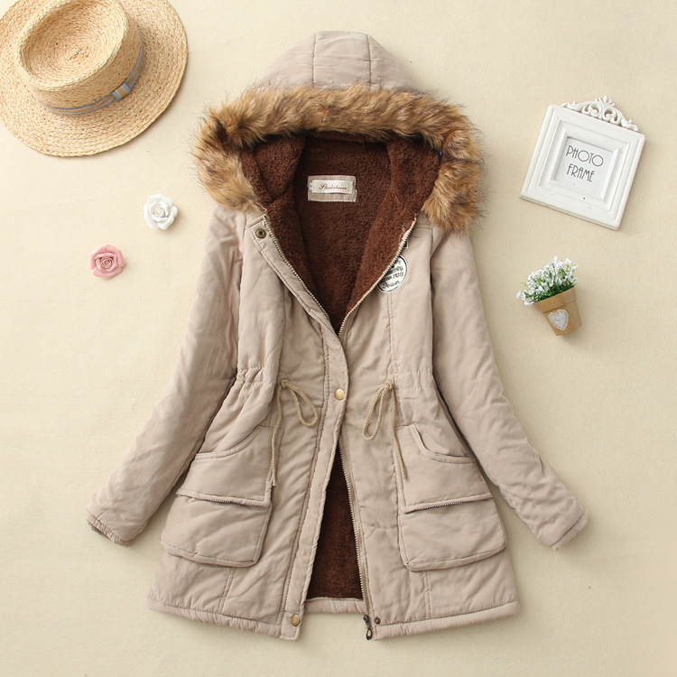19 Winter New Women's Hooded Fur Collar Waist And Velvet Thick Warm Long Cotton Coat Jacket Coat 18