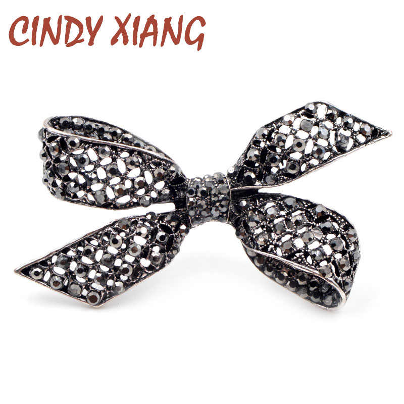Cindy Xiang Baru 2017 Berlian Imitasi Hitam Ikatan Simpul Bros untuk Wanita Fashion Besar Bow Bros Pin Elegan Pesta Aksesoris Hadiah