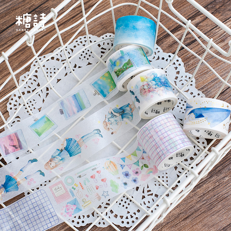 cartoon sailor suit girl paper plane photo wall blue sky travel Decoration Washi Tape DIY Planner Scrapbook Masking Tape escolar image