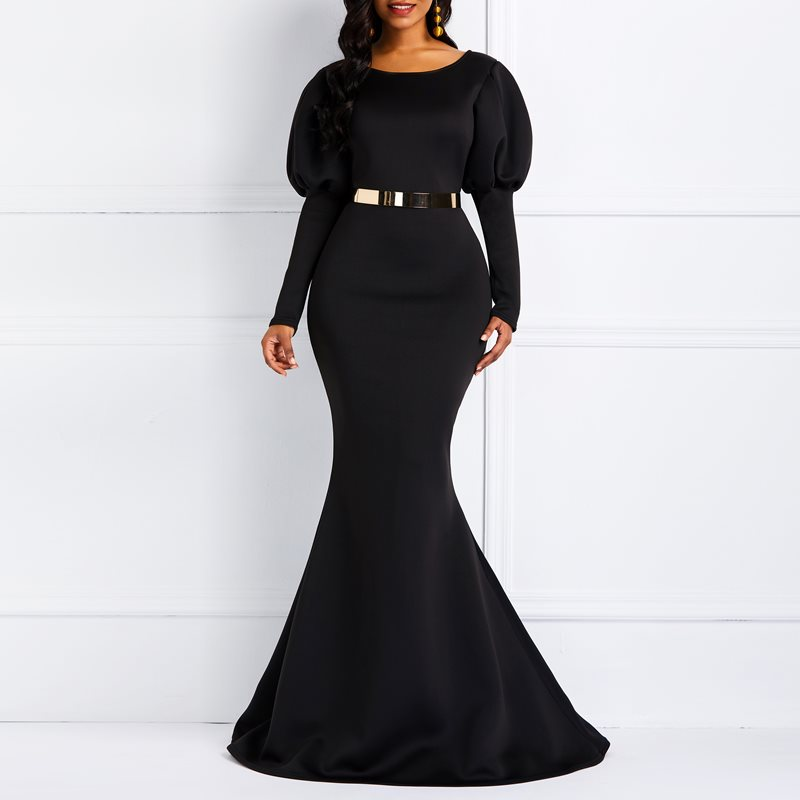 Women Party Maxi Dresses Sexy Blue Mermaid Cotton Long Sleeve Black Female African Fashion Bodycon Vintage Long Dress Elegant