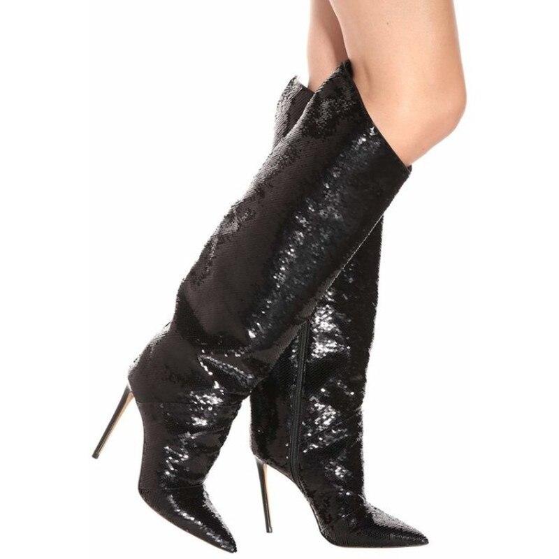 Verni Bout Talons Piste Pic Femmes Luxe Genou En Marque Cuir Pic Slouch Plaine Paillettes De Haute Cône as Chaussures Rouge Bottes Pointu Noir As Shopping TaqRzAfwx