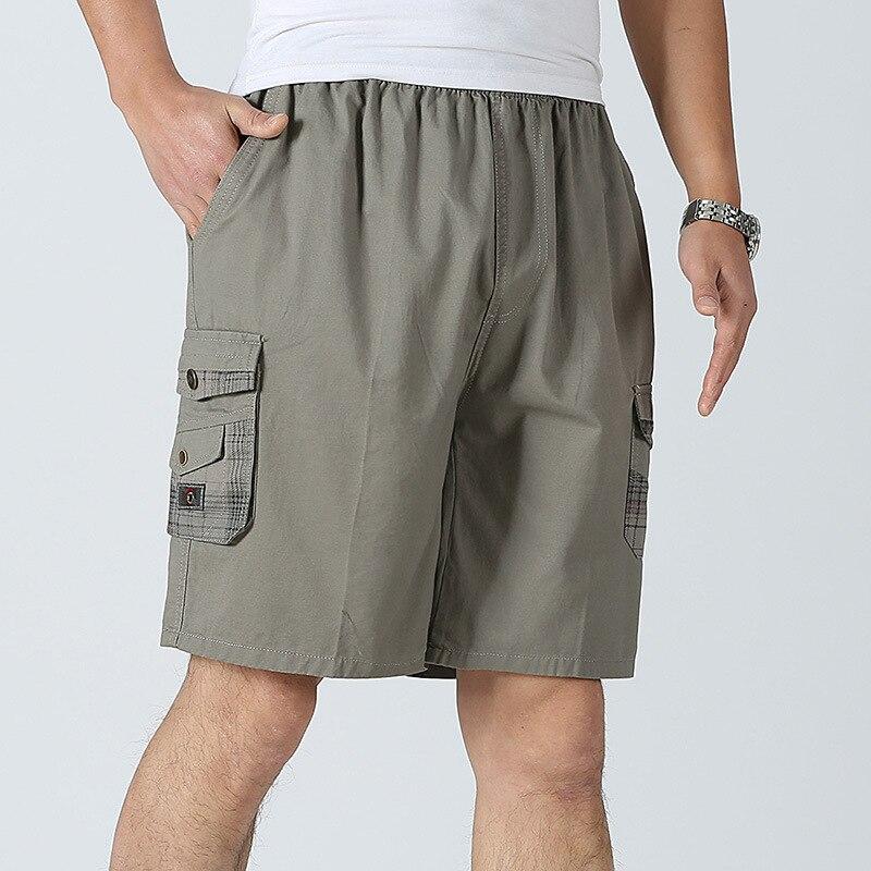 LANBAOSI Men Beach Shorts 2018 Cotton Board Shorts Pocket Male Loose Work Shorts Man Military Short Pants Plus Size F50
