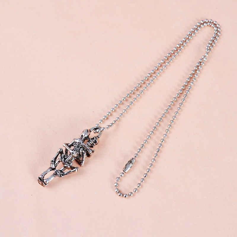 punk Men Infinity Tibet Silver Black Stainless Steel Skull Pendant Chain Necklace