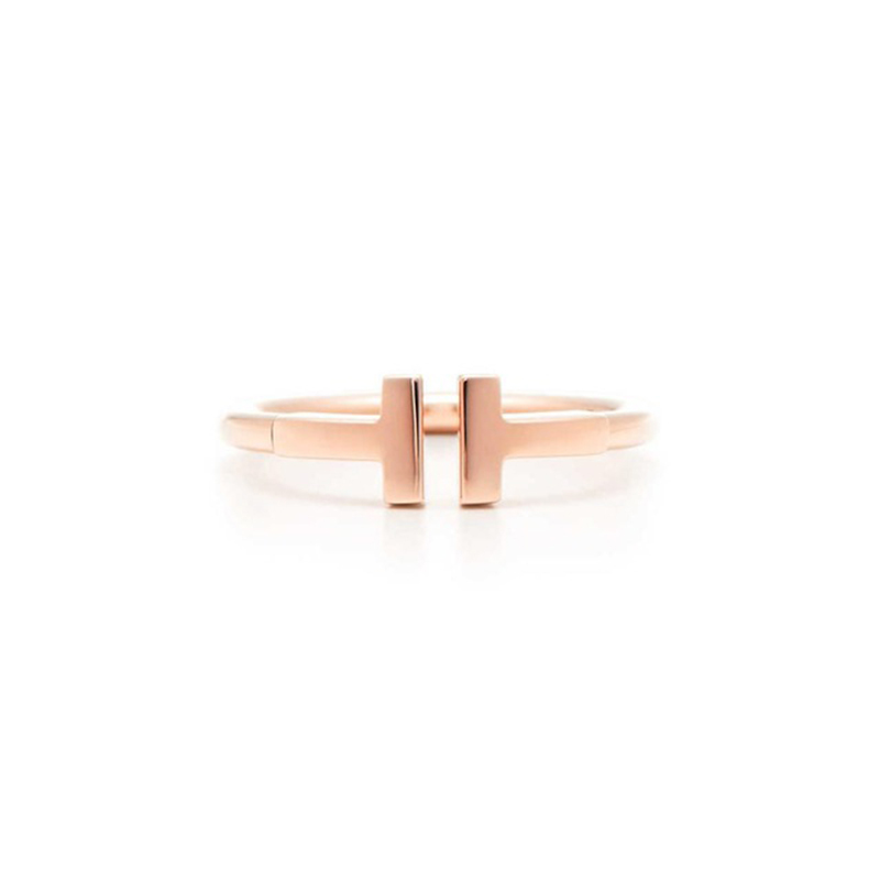 TIFF 100% 925 sterling silver new simple fashion T character charm ring rose gold classic opening men and women hand jewelry simple faux zircon opening ring for women