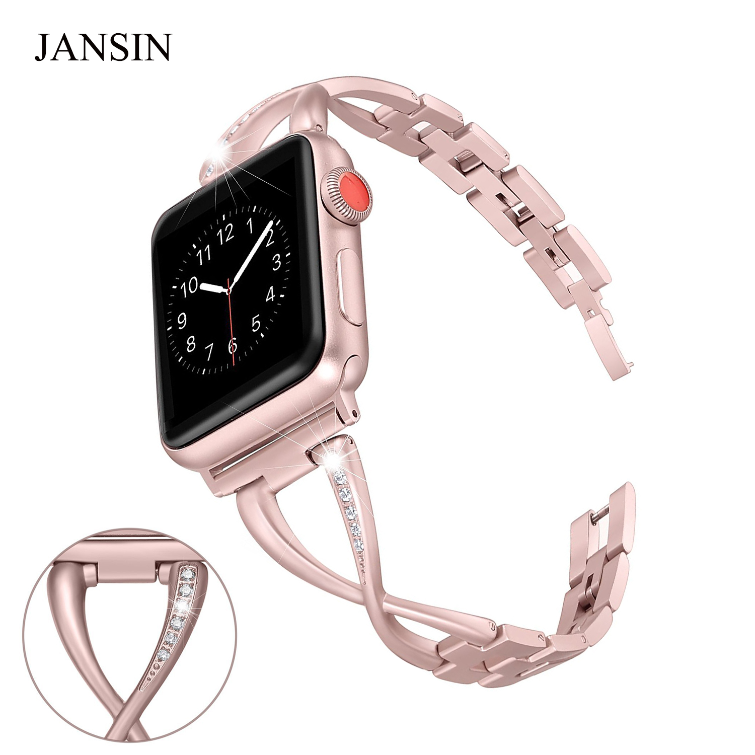 JANSIN Women Watch band for Apple Watch Bands 38mm/42mm/40mm 44mm diamond Stainless Steel Strap for iwatch series 4 3 2 Bracelet jansin strap band for apple watch 40mm 44mm 42mm 38mm for iwatch 3 2 1 stainless steel watch band link bracelet watchband strap