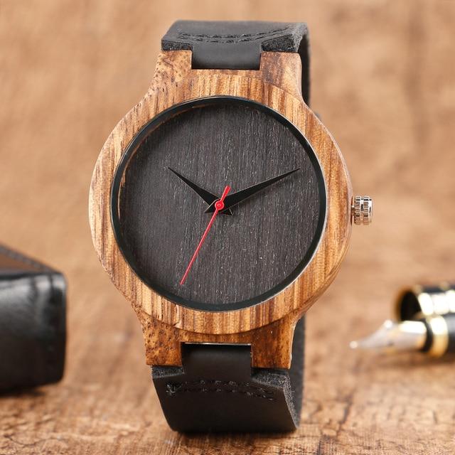 2019 Top Presente Preto/Café/Verde Mostrador do Relógio De Madeira de Bambu Natural De Madeira Das Mulheres Dos Homens de Couro Genuíno Relógio Masculino hora Reloj de madera