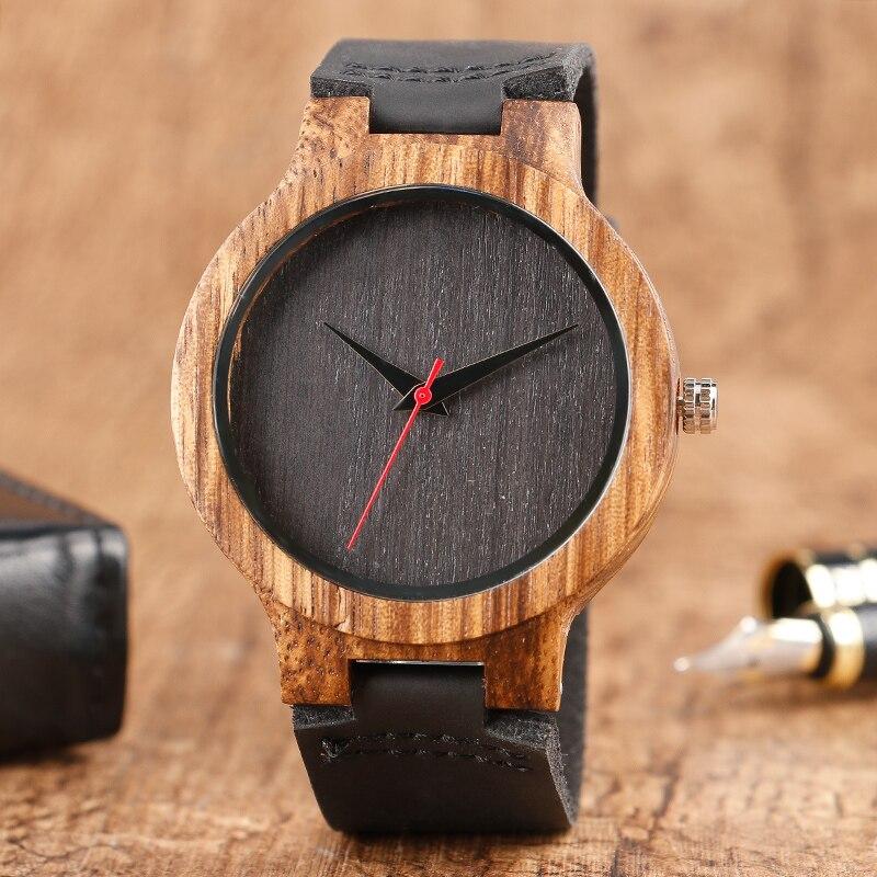 El mejor regalo de 2020, esfera negra/café/verde, Reloj de madera Natural de bambú, Reloj de madera de cuero genuino para hombres y mujeres, Reloj de madera para hombre