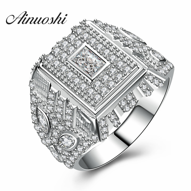 AINUOSHI New Victory Trendy Men 925 Sterling Silver Ring Man Setting Wedding Engagement Square Ring Jewelry