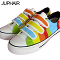 JUP Mens Males Canvas Flats shoes hand-painted Rainbow Striped Low Cow Muscle Casual Zapatos Mujer Mens Shoes Sales Espadrilles