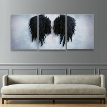 Laeacco Canvas Painting Calligraphy 3 Panel White and Black Angel Wings Wall Decor Posters Prints for Living Room Home