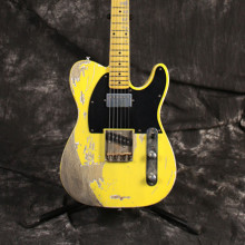 Hot Handwork Relic Electric Guitar with Ash Body in Dark Yellow Color, Aged guitar parts, Brass Saddle bridge, Vintage guitarra