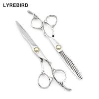 Professional hair scissors 6 INCH Super Japan 440C Damascus pattern Barber scissors Lyrebird HIGH CLASS 5SETS/LOT NEW
