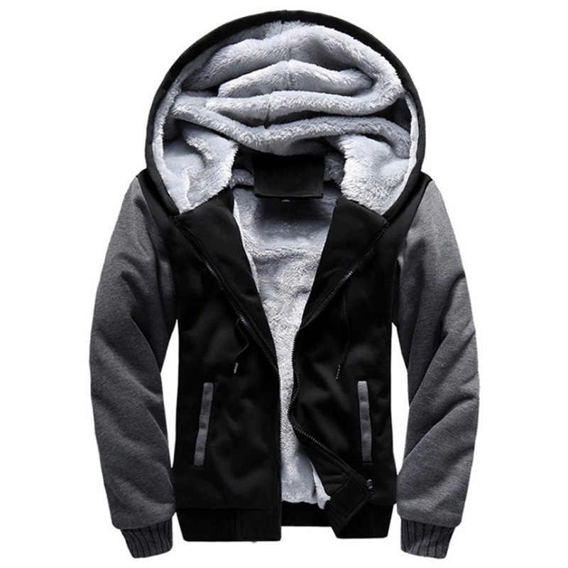 2019 New Men Hoodies Winter Thick Warm Fleece Zipper Men Hoodies Coat Sportwear Male Streetwear Hoodies Sweatshirts Men 4XL 5XL