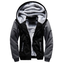2020 New Men Hoodies Winter Thick Warm Fleece Zipper Men Hoodies Coat Sportwear Male Streetwear Hoodies Sweatshirts Men 4XL 5XL cheap LEGIBLE Full Casual Patchwork Regular Hooded STANDARD Polyester NONE