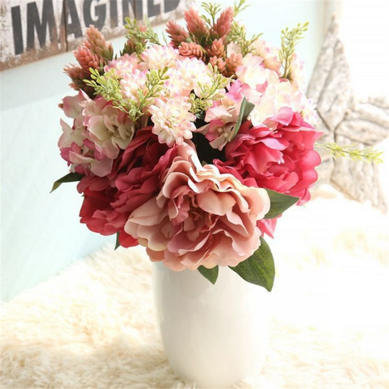 ∞The Hydrangea of Peony Bouquet Artificial Flower Fake Flower ...