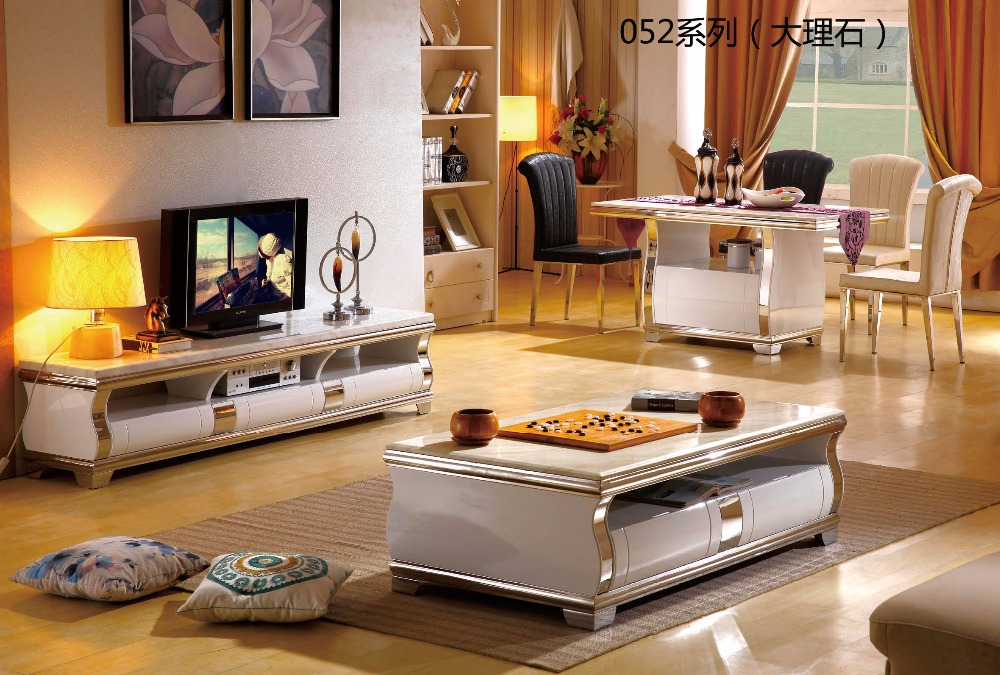 CJTV052 Minimalist Modern living room piano paint furniture marble surface TV stand cabinet coffee tea table furniture set furniture parlor marble combination wood adjustable tv cabinet coffee table