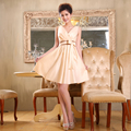 New 2017 Bridesmaid Dresses Hot Sale Champagne color V-neck Short Sexy Bow design Empire Elegant Party Prom Dress Vestidos