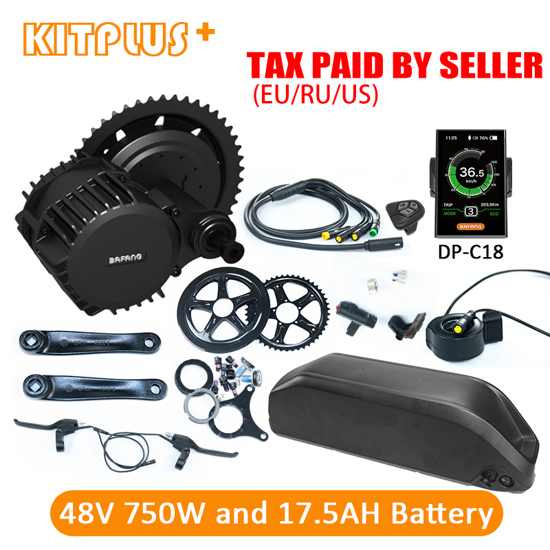 Bafang BBS02 750W Kit with Battery 8Fun 48V 750W Bafang Motor Central Electric Bike Conversion Kit with Bike Battery 48V 17.5AH