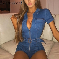 Glamaker Blue denim rompers women jumpsuit short sexy bodycon summer streetwear jeans playsuit Female fashion party club overall