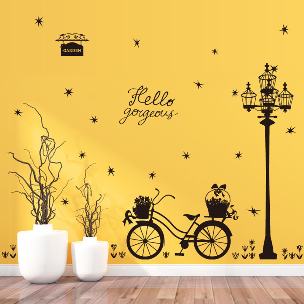 1 sheet Sreet Light bicycle Removable Black Wall Stickers For Living ...