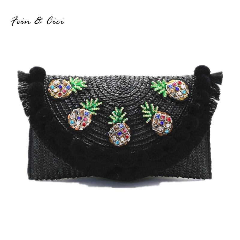 beach bag straw clutch messenger bag envelope bag women lady day tassels pineapple summer crossbody bags 2017 high quality все цены