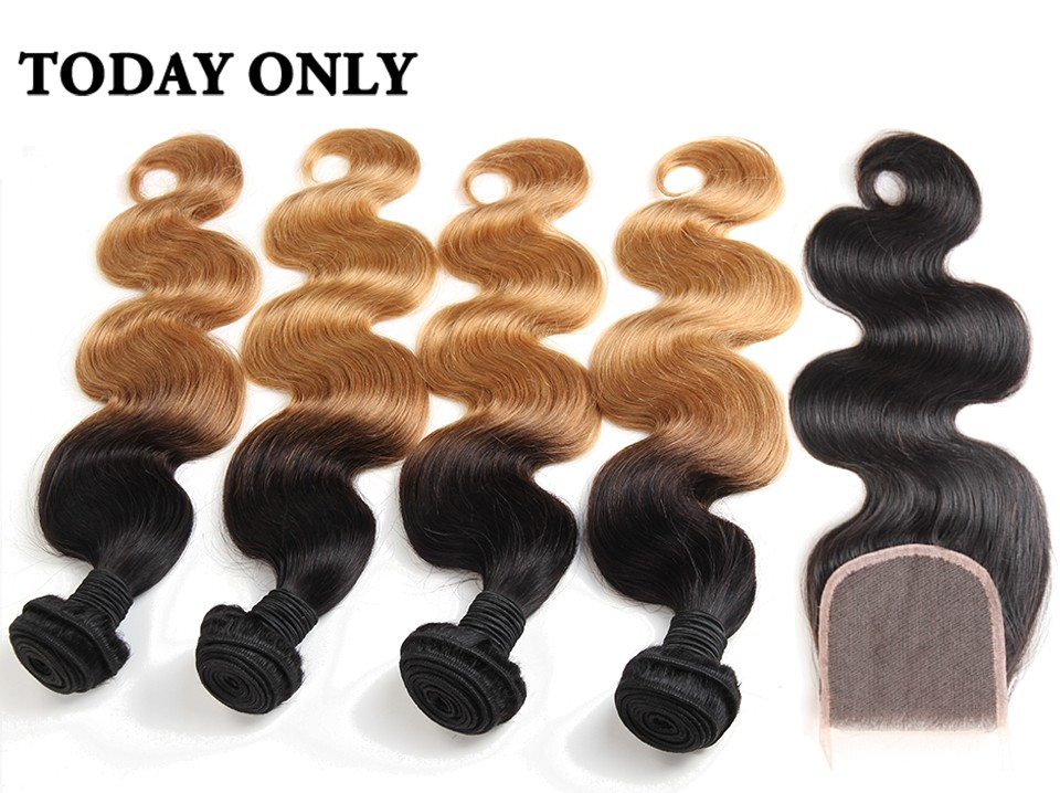 ombre human hair with closure 03