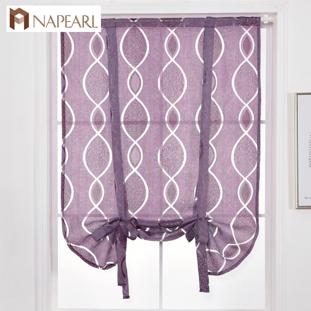 Us 7 9 49 Off Napearl Short Curtain Kitchen Window Treatment Semi Transparent Valance Tie Up Balloon Curtain Door Balcony Jacquard Modern In