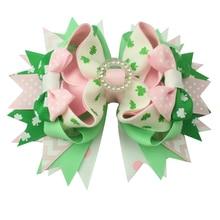 6 uds. De horquillas de imitación de trébol verde para niña, lazos para el pelo, cinta de grogrén para niña, accesorios para el cabello, regalos de Boutique