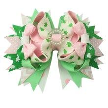 6pcs סנט Patrickday ירוק מצחיק תלתן פו סיכות שיער שיער קשתות מבהיקי סרט עבור בנות שיער אביזרי בוטיק מתנות