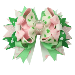 Image 1 - 6pcs  St. Patrickday green Funny Clover Faux hairgrips Hair Bows Grosgrain Ribbon For Girls Hair Accessories Boutique gifts