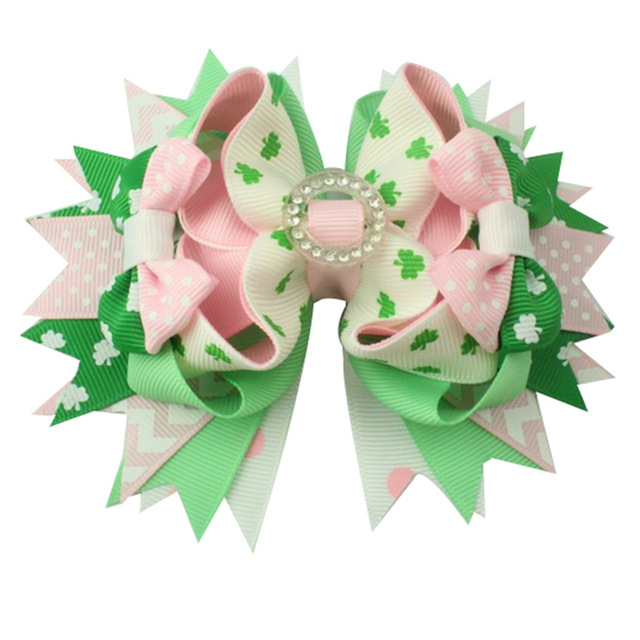 6pcs  St. Patrickday green Funny Clover Faux hairgrips Hair Bows Grosgrain Ribbon For Girls Hair Accessories Boutique gifts