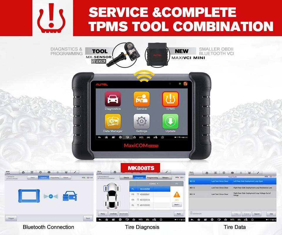 Image 3 - Autel MaxiCheck MK808TS MX808TS OBD2 Diagnostic Tool ODB2 scanner automotive code reader TPMS programmer IMMO DPF PK MK808 TS608