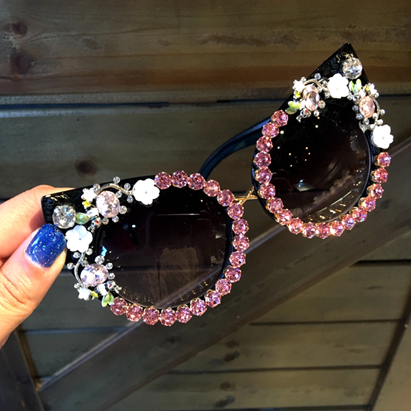2018 Óculos De Sol Das Mulheres óculos de Marca de Luxo Jóia Decoração Olhos de Gato Óculos De Sol Do Vintage Shades Eyewear Oculos Dropshipping