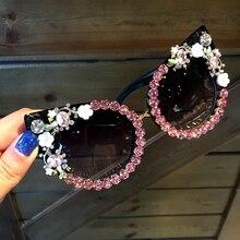 2018 Sunglasses Women Luxury Brand glasses Jewelry Decoration Cat Eyes Sunglasses Vintage Shades Eyewear Oculos Dropshipping