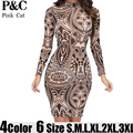 XXXL Plus Size Sexy Women Tribal Tattoo Print Mesh Bodycon Dress Summer Women Long Sleeve Multi Color Geometric Curvy dresses