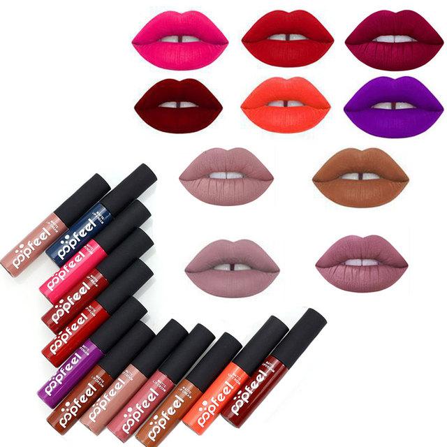 12 Colores de Tinte líquido Lápiz Labial Brillo De Labios Mate de Terciopelo Rojo Lipgloss lápiz de Labios Sexy Tatuaje Impermeable Duradera Maquillaje Marca