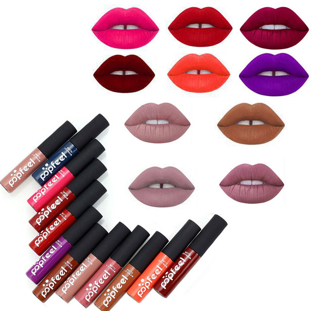 12 Colori Tinta liquid Rossetto Lip Gloss Opaco Velluto Rosso Impermeabile di Lunga Durata Lipgloss Rossetto Sexy Tatuaggio Trucco di Marca