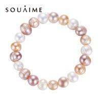 Натуральный жемчужный браслет 7-9 мм для женщин высокое качество многоцветные браслеты с подвесками большой размер Pulseras Mujer