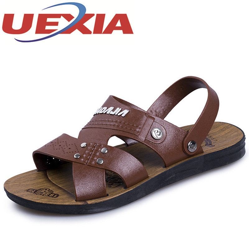 Summer Fashion Breathable Sandals Mens Casual Slippers Shoes Outdoor Pu Leather Flat Non-slip Water Beach Sandals Shoes For Men