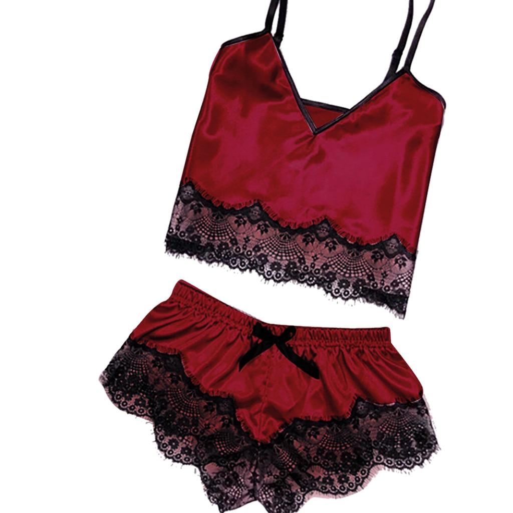 Womens Sexy Satin Sling Sleepwear Lingerie Lace Bowknot Nightdress Underwear Homewear Ladies Nighty Nightgown