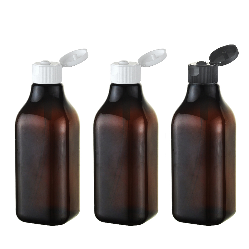 50pcs 200ml brown square plastic bottle container DIY cosmetic packaging PET bottle brown cosmetic bottles with