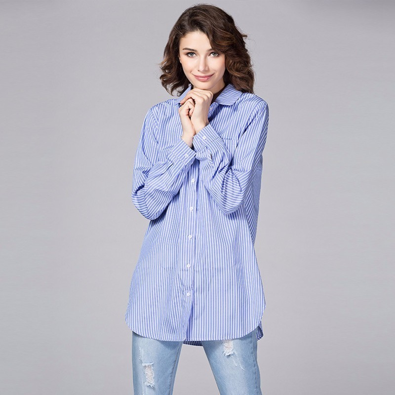 TWOTWINSTYLE Basic Shirt Tops Female Striped Long Sleeve Plus Size White Blouse For Women Spring Summer 2018 Fashion OL Clothing 1